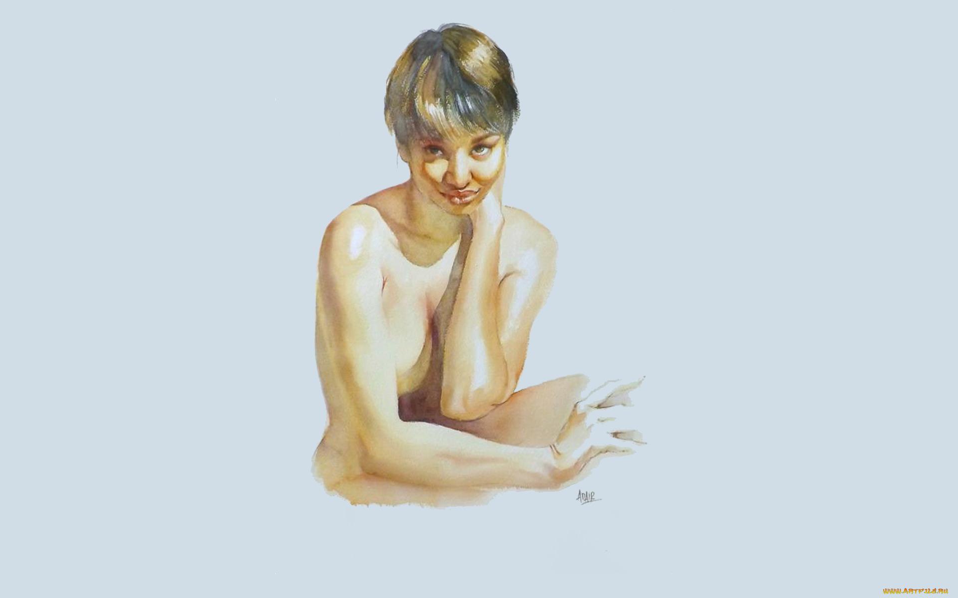 рисованное, люди, девушка, грудь, pauline, adair
